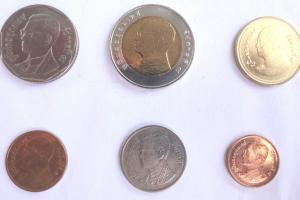 Фото монет Тайланда достоинством 5, 10, 2, 0.5, 1, 0.25 бат