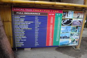 Цены на такси на пляже Най Янг