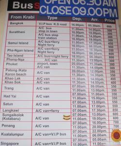 Цены на билеты от Краби до различных городов Тайланда