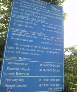 Расписание рассветов и закатов на Пхи-Пхи