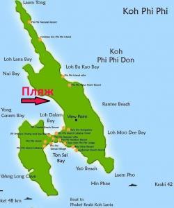 Местоположение пляжей к востоку от Loh Dalum на Пхи-Пхи