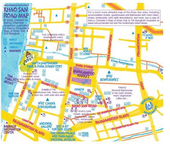 Карта района Каосан в Бангкоке