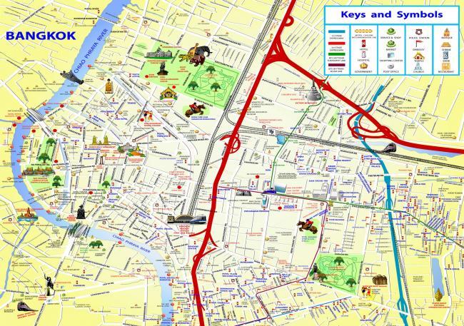 Карта Бангкока с достопримечательностями, метро и другими важными местами