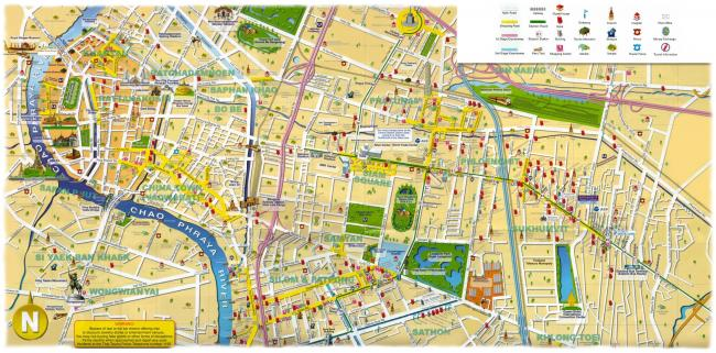 Главные культурные достопримечательности Бангкока на карте