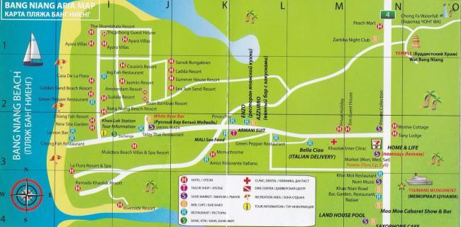 Карта пляжа Bang Niang в Кхао Лак
