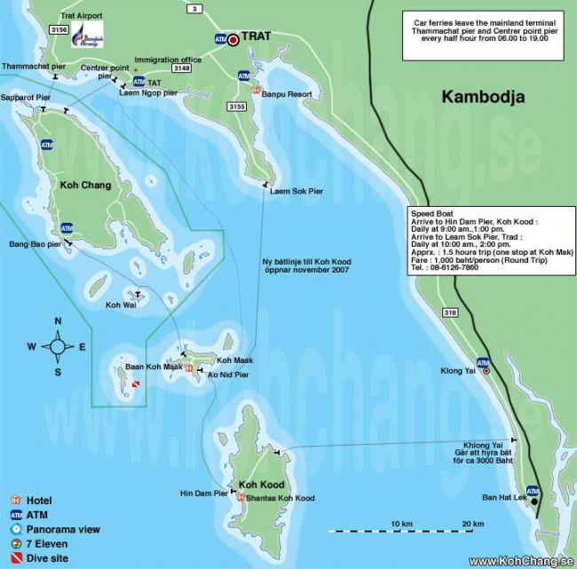 Карта «Материк и острова рядом с Ко Чанг»
