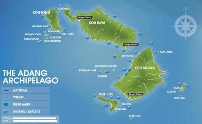 Карта архипелага Аданг