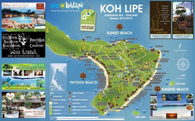 Карта острова, пляжей и отелей на Ко Липе