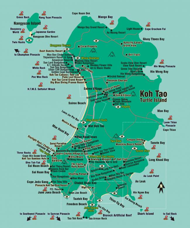 Карта Ко Тао с отелями, местами для погружений