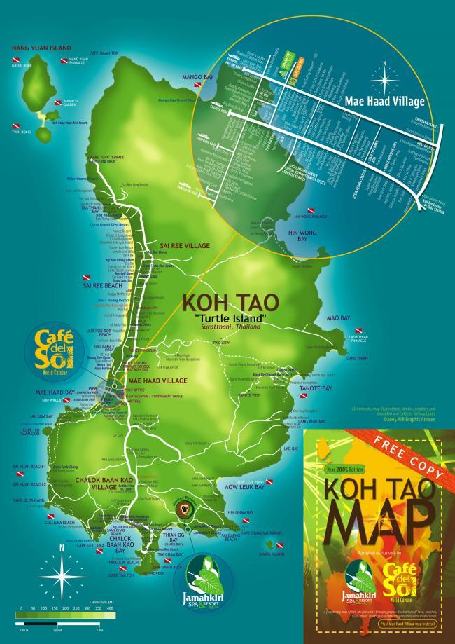 Карта острова Ко Тао с пляжами, отелями