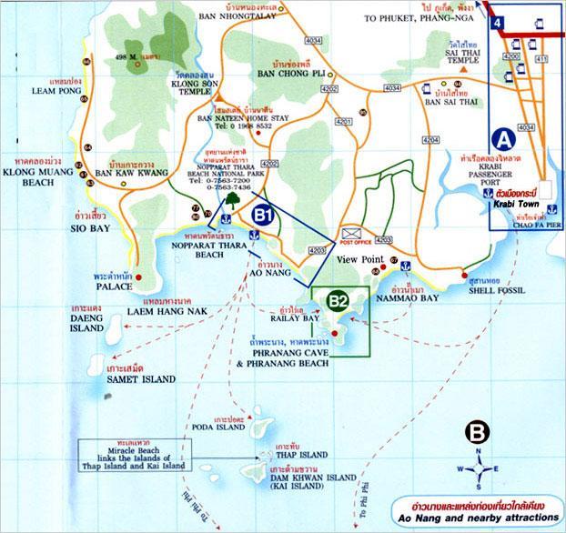 Карта Транспорт на Краби между пляжами и островами рядом