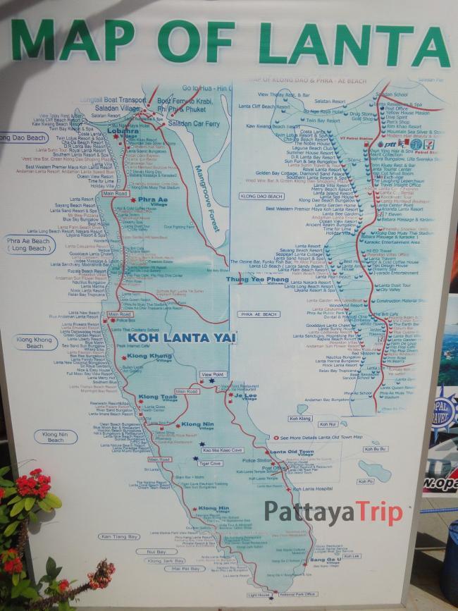 Карта Ко Ланты с отелями