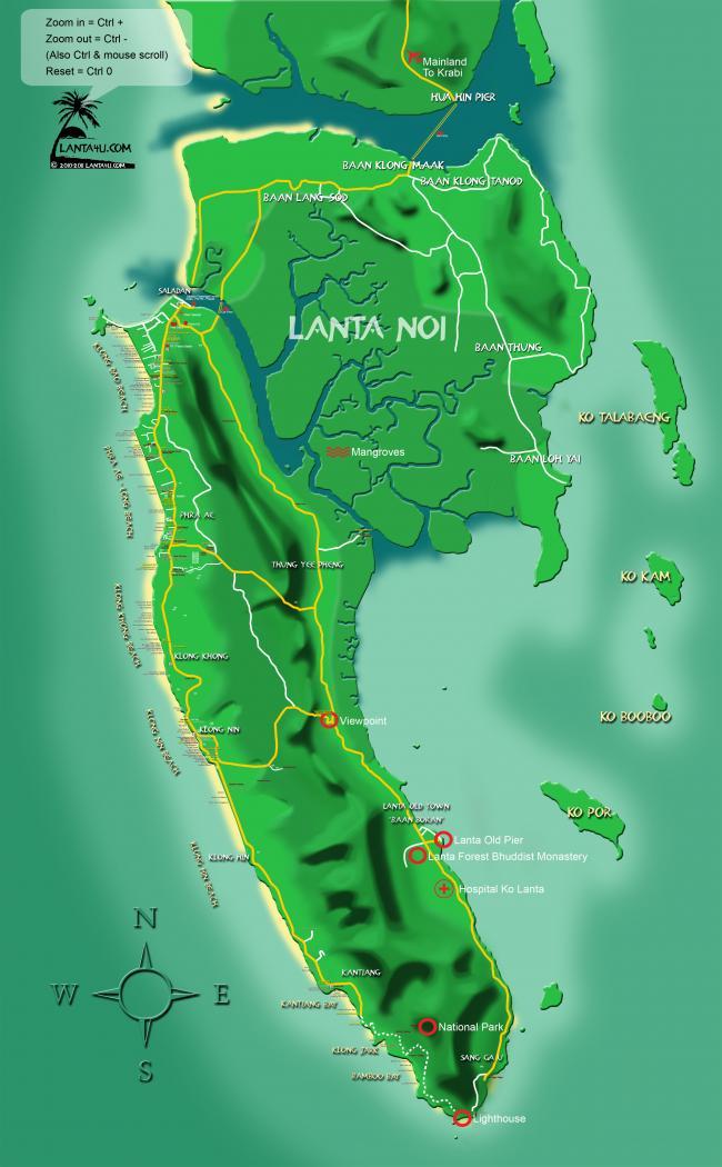 Огромная карта с пляжами и достопримечательностями