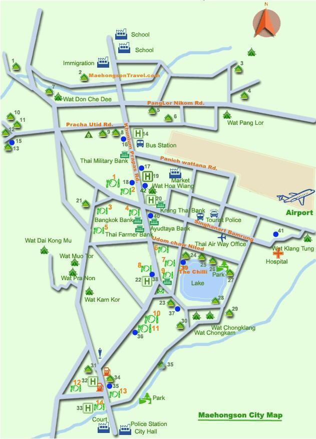 Карта Мэхонгсона с храмами и аэропортом