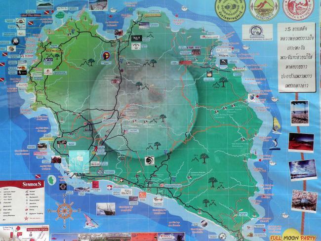 Карта Пангана с достопримечательностями и пляжами