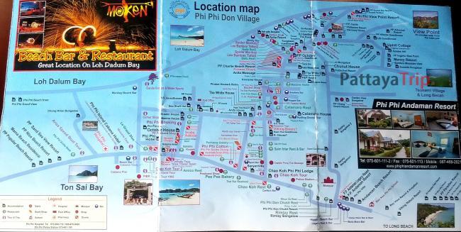 Карта города Тонсай на Пхи Пхи