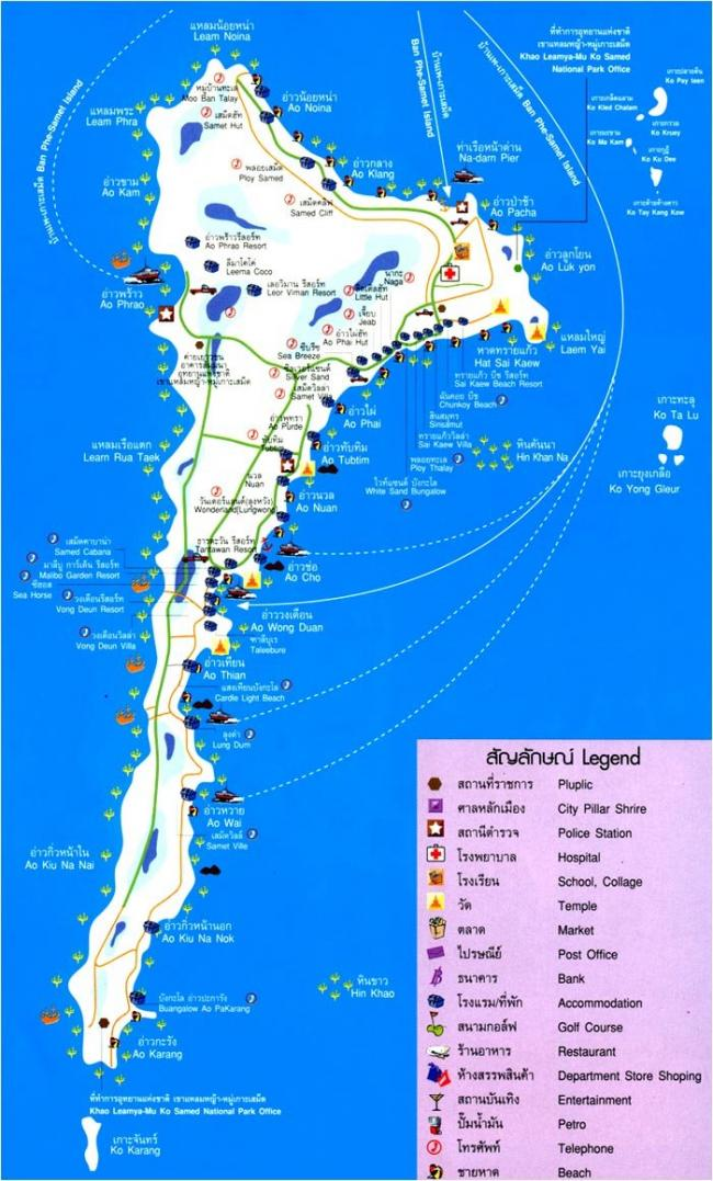 Карта острова Самет: пляжи, отели, магазины, острова рядом