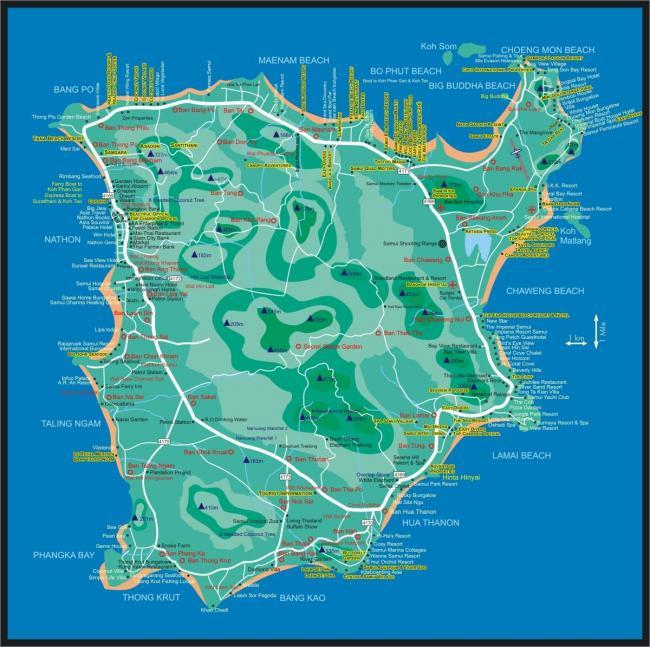 Карта Самуи с отелями и пляжами