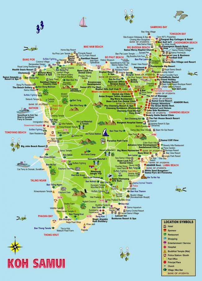 Карта Самуи с отелями и достопримечательностями