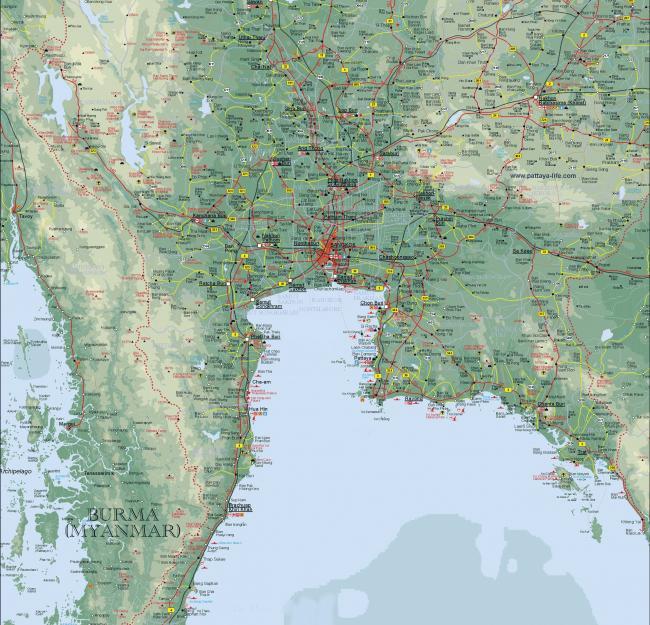 Подробная карта Тайланда центральной части страны