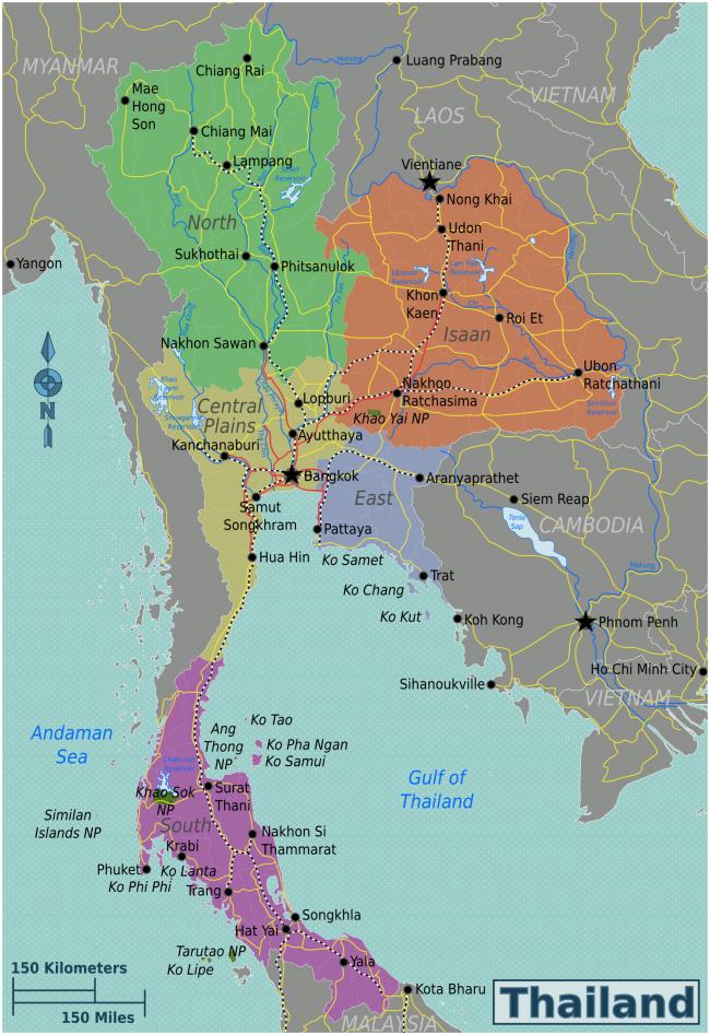 Регионы Таиланда на карте
