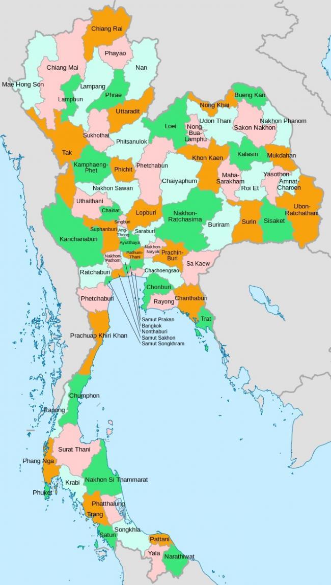 Расположение провинций на карте Тайланда