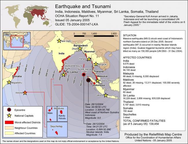 Карта мира с территорией охваченной цунами 2004 года