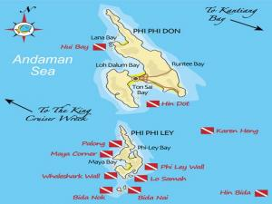 Карта мест для погружения на Пхи-Пхи