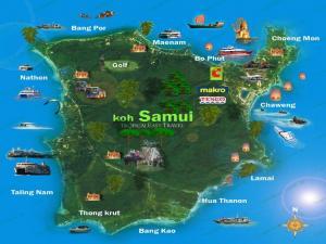 Карта Самуи с достопримечательностями
